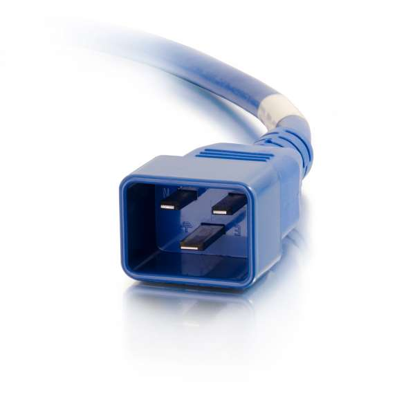 C2G 5ft 12AWG IEC320C20 to IEC320C19 Power Extension Cable [Blue]