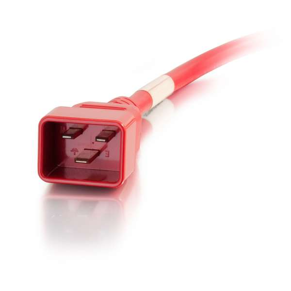 C2G 5ft 12AWG IEC320C20 to IEC320C19 Power Extension Cable [Red]