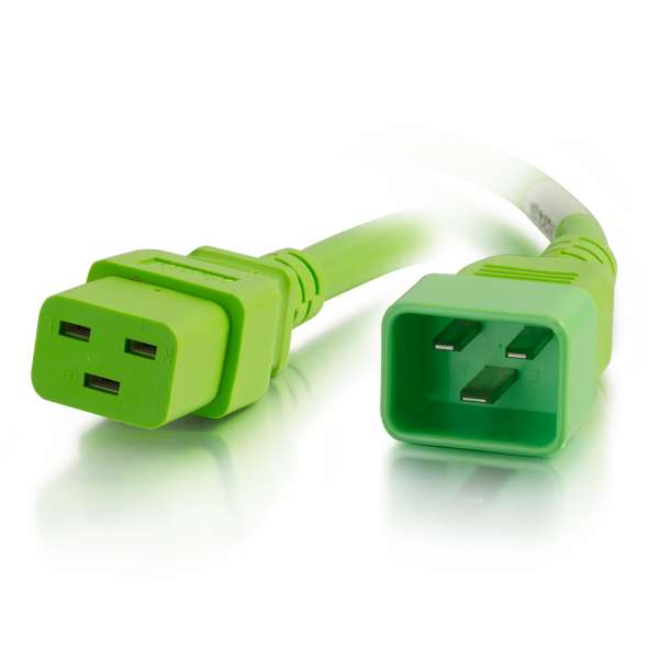C2G 5ft 12AWG IEC320C20 to IEC320C19 Power Extension Cable [Green]