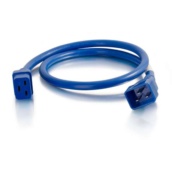 C2G 1ft 12AWG IEC320C20 to IEC320C19 Power Extension Cable [Blue]