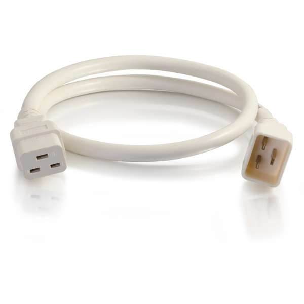 C2G 3ft 12AWG IEC320C20 to IEC320C19 Power Extension Cable [White]