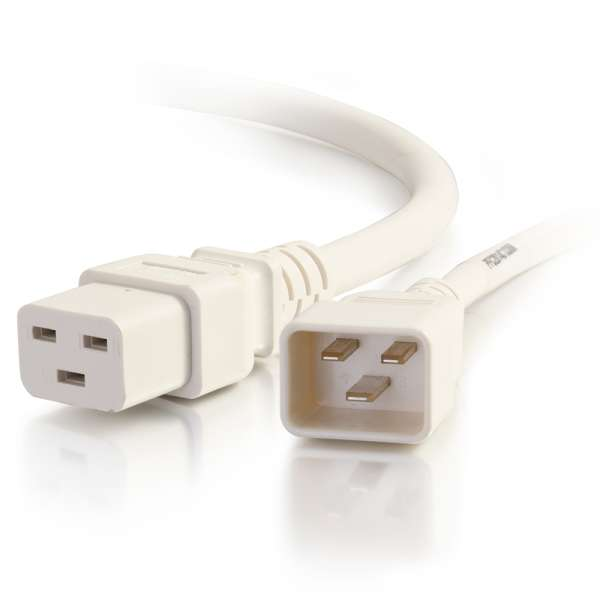 C2G 5ft 12AWG IEC320C20 to IEC320C19 Power Extension Cable [White]